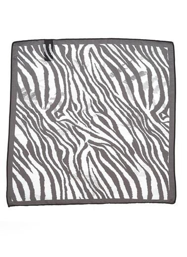 Monamoda Zebra Desenli Fular Siyah